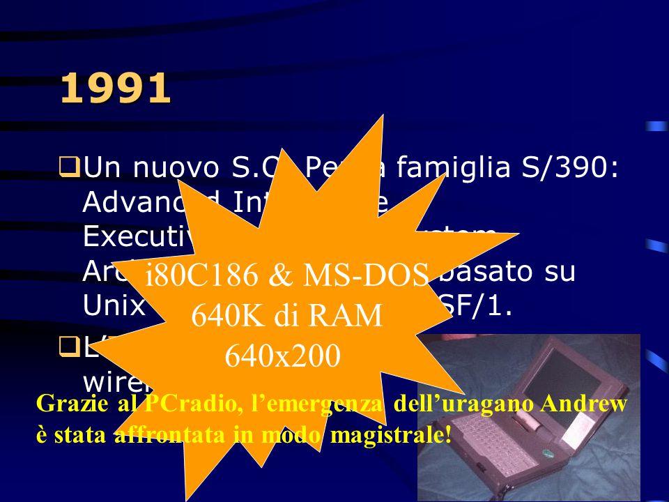 1991  E' tempo di aumentare la capacità degli hard-disks: 1Gb. Grazie all'uso di testine magnetoresistive. Adesso comincia la corsa alle grosse capac