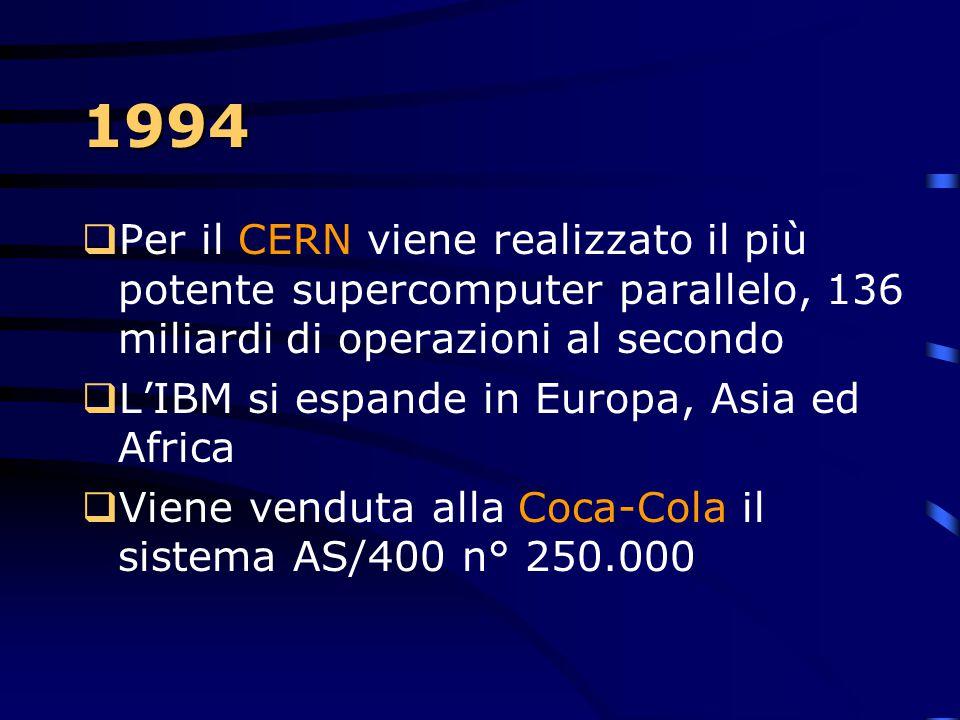 1993  Arrivano i Scalable POWERparallel Systems. Supercomputer RISC/6000, paralleli grazie all'unione di più processori, piuttosto che alla realizzaz