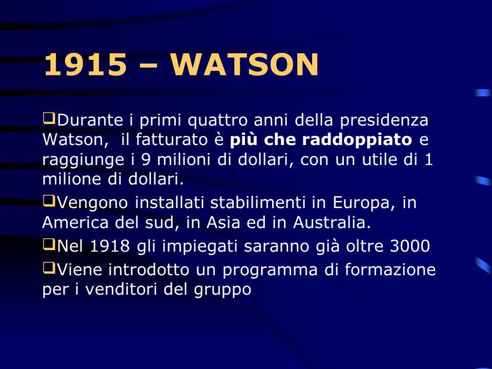 1915 – CTRT Thomas J. Watson, Sr. Diventa presidente dell'azienda L'azienda assume il primo impiegato invalido, 59 anni prima dell' introduzione del