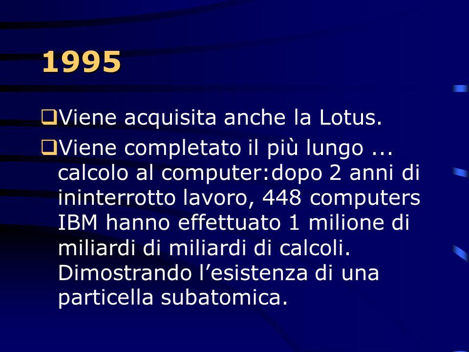 1994  Nasce il primo PowerPC a 64 bit  Il primo software per PC per il riconoscimento vocale, l'IBM personal dictation system. Riconosce 32.000 paro