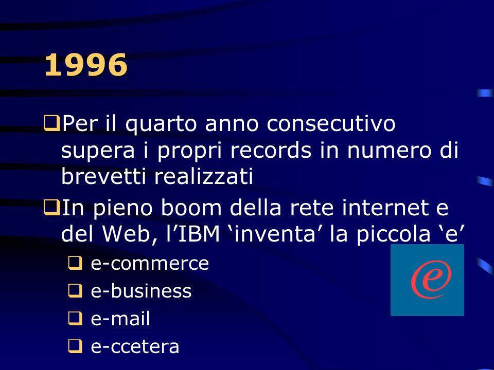 1996  Il DB2 diventa DB2 Universal Database per la capacità di gestire ogni tipo di dato: testo, audio, video, immagini e dati complessi.  Il dipart