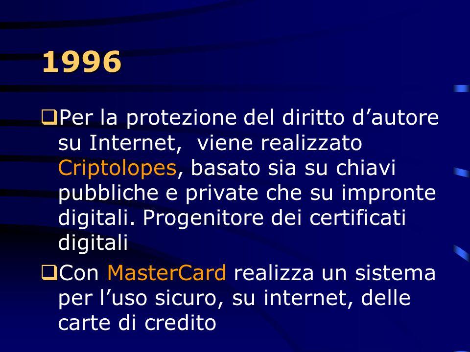 1996 PPer il quarto anno consecutivo supera i propri records in numero di brevetti realizzati IIn pieno boom della rete internet e del Web, l'IBM