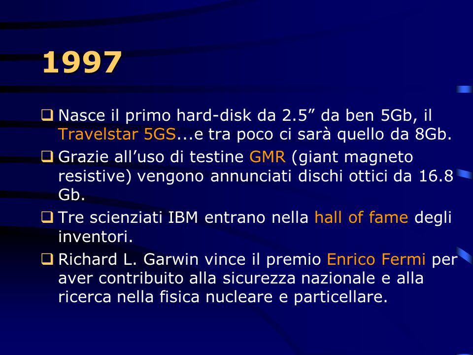 1997  Nasce Netfinity, una linea di servers basati su WindowsNT. Dagli entry- level a macchine multiprocessori simmetrici ad alte prestazione  Nasco
