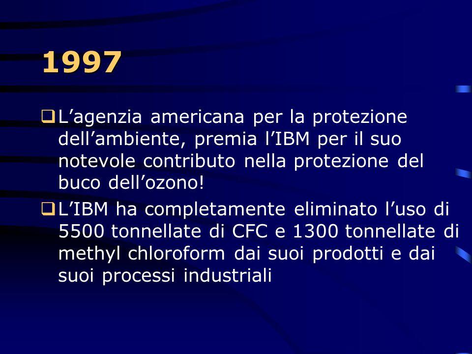 1997  Dopo 30 anni di esperimenti, prende luce il CMOS 7S. Grazie al rame al posto dell'alluminio nella costruzione dei chips, si ottiene un migliora