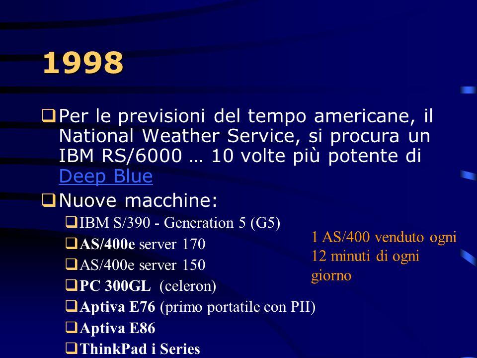 1998  Il vice presidente Al Gore annuncia ASCI Blue Pacific. Il computer più veloce al mondo. Quello che un uomo, con una calcolatice scientifica, pu