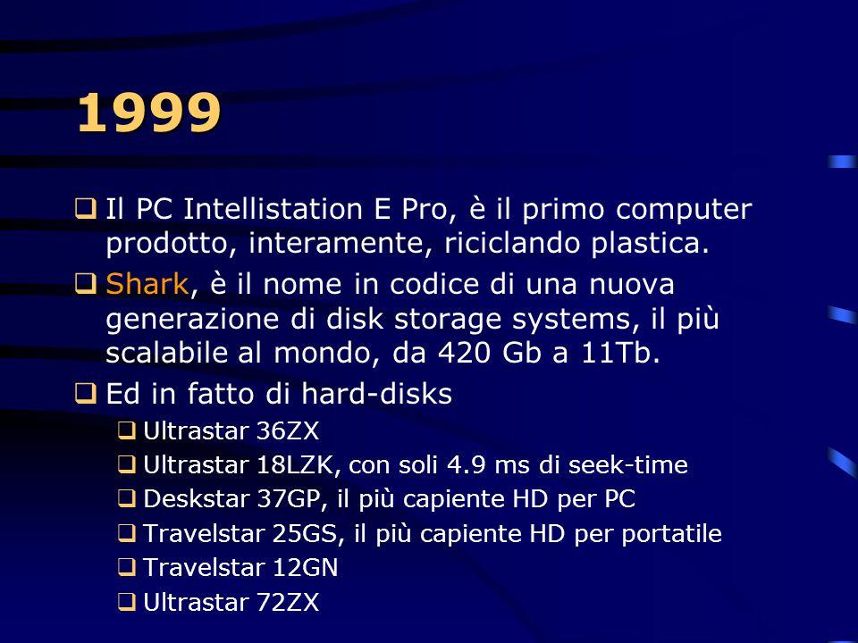 """1999  Un investimento di 100 milioni di dollari è quello che IBM stanzia per la realizzazione di """"Blue Gene"""". Sarà 500 volte più potente del più pote"""