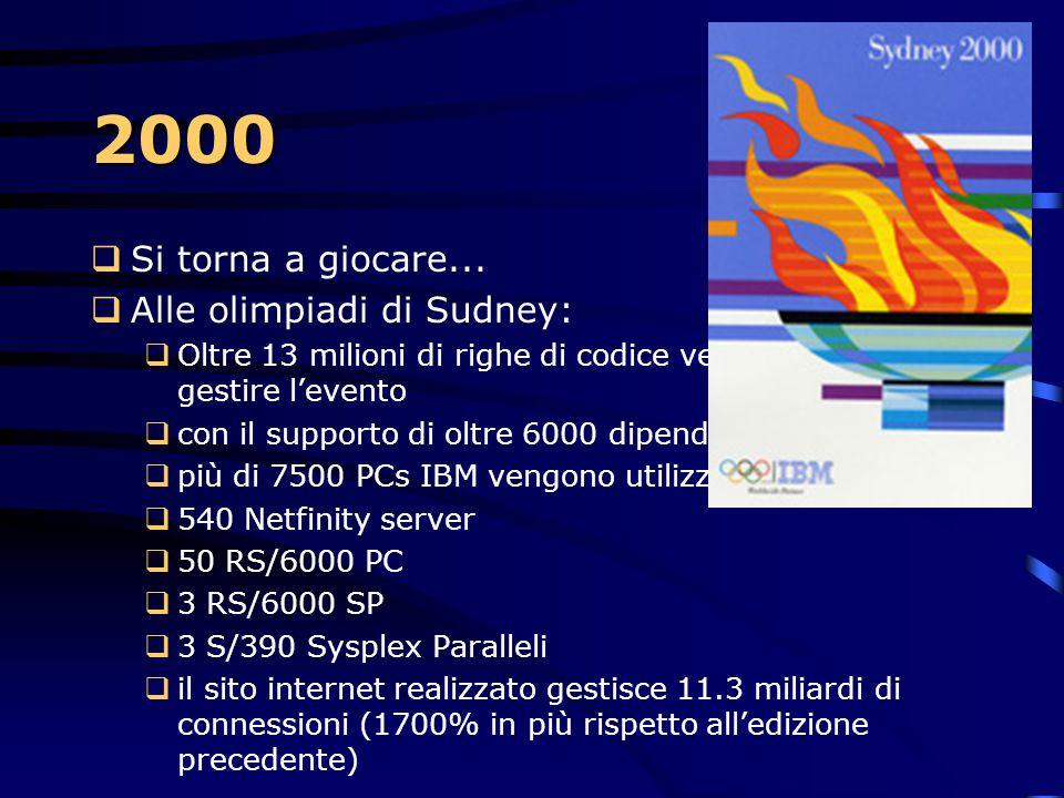 2000  Viene introdotta la nuova linea di servers eServer.  zSerie, il più affidabile, transazionale e mission- critical  pSeries, il più potente e