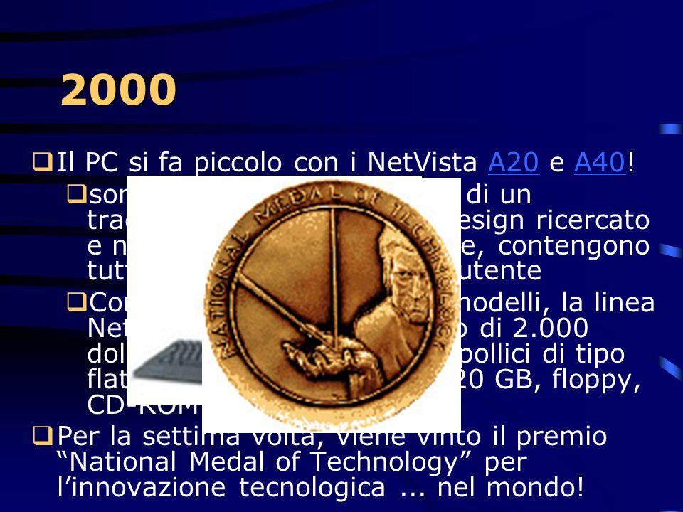 2000  Si torna a giocare...  Alle olimpiadi di Sudney:  Oltre 13 milioni di righe di codice vengono realizzate per gestire l'evento  con il suppor