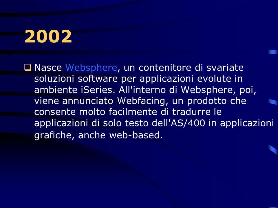 2002  IBM annuncia una nuova famiglia di AS/400, gli 8xx e i nuovi 250/270, che vanno a sostituire i precedenti sistemi 150, 170 e quelli di fascia b