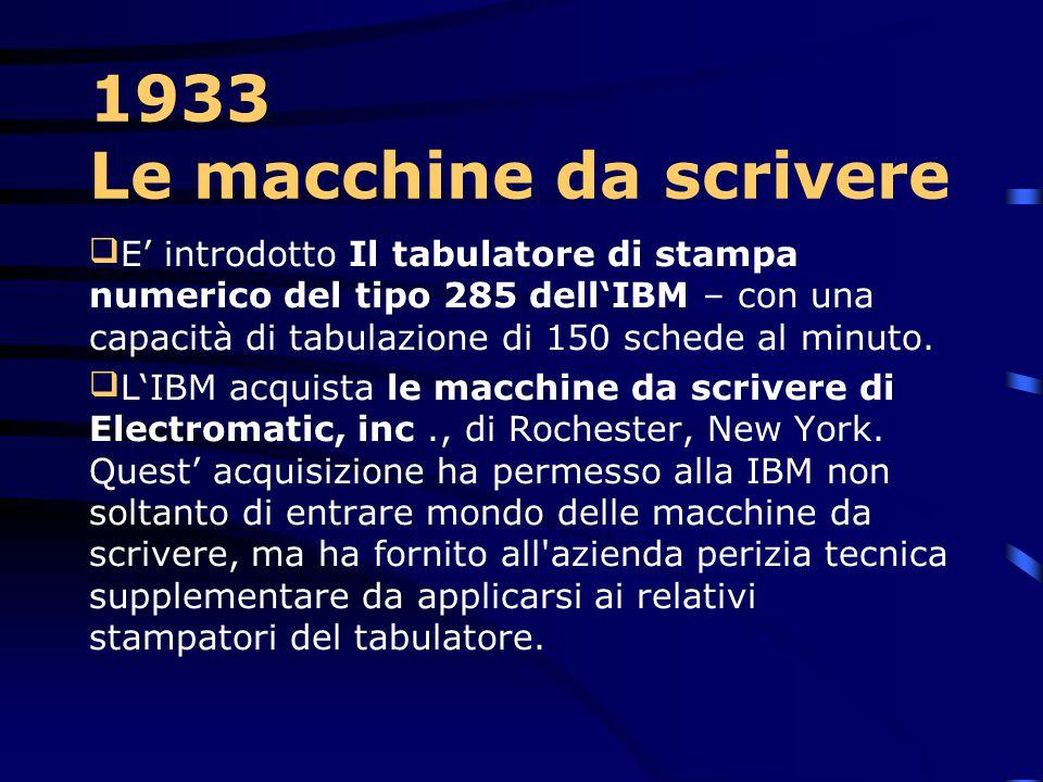 1931 – Traduttore IBM  Viene introdotta nel mercato la macchina contabile IBM serie 400, la prima macchina in grado di stampare dati alfabetici.  Ne