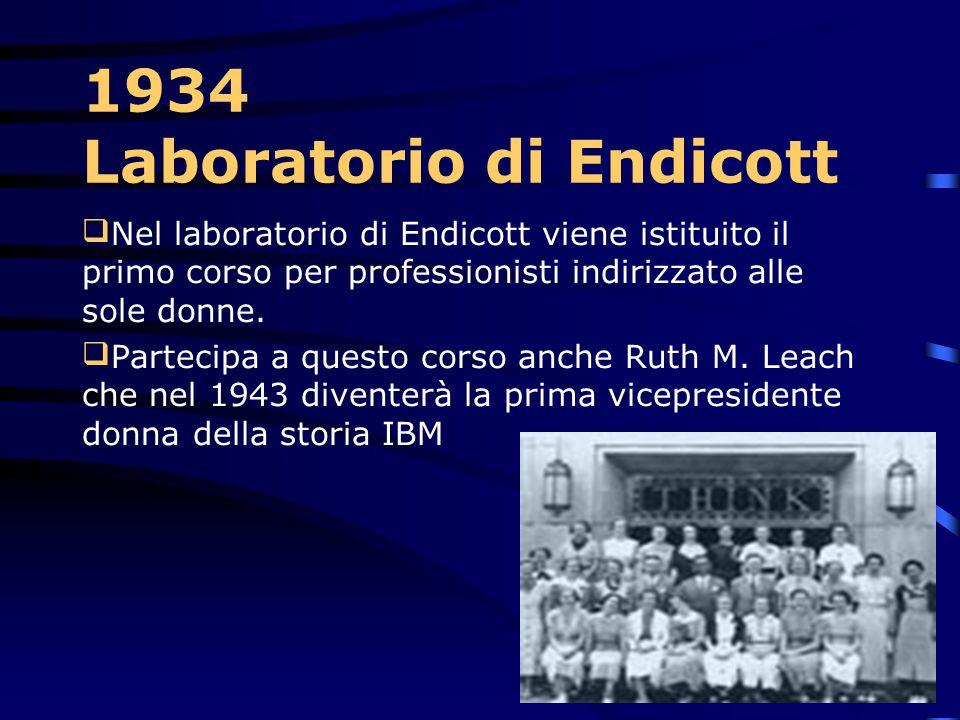 1933 Laboratorio di Endicott L'IBM ha completato uno dei laboratori più moderni di sviluppo e di ricerca nel mondo a Endicott, New York. Sulla porta