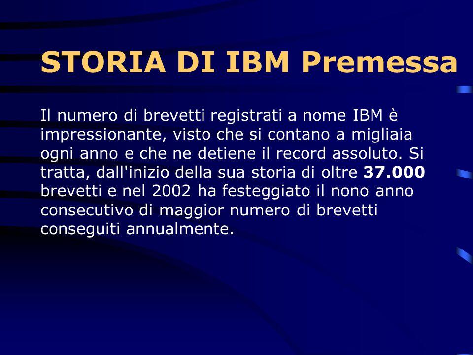 STORIA DI IBM Premessa Non è facile tentare di dare un'idea complessiva di un colosso mondiale che vanta quasi un secolo di storia! Però, se dalla sto