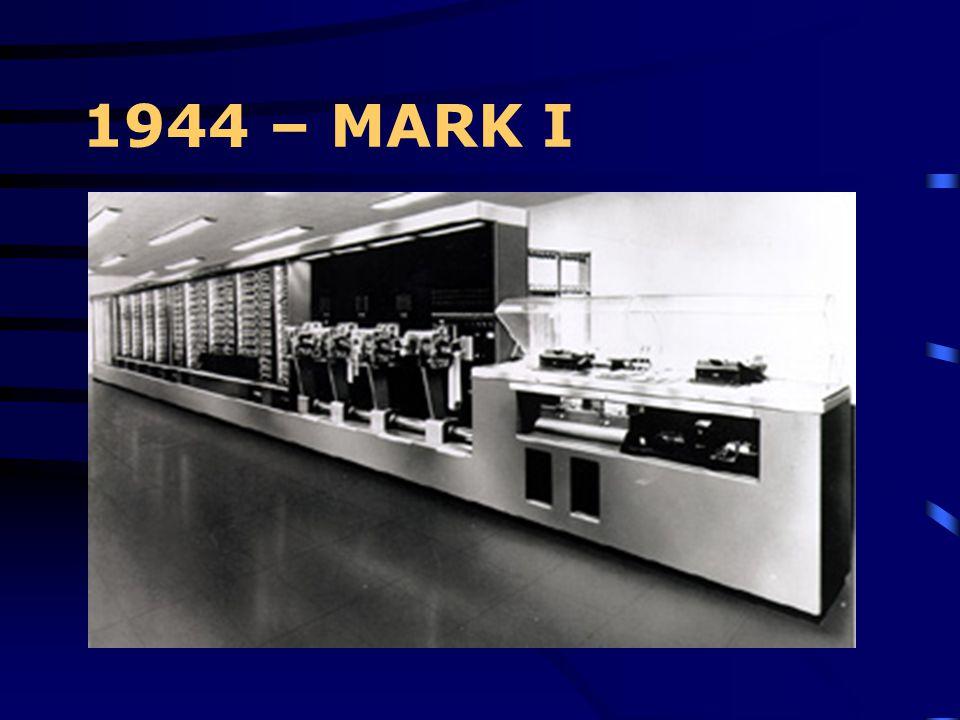 1944 – MARK I Viene ultimato il Mark I sotto la guida di H.H. Aiken dell'Università di Harvard e con la collaborazione dei tecnici IBM. Si tratta di u