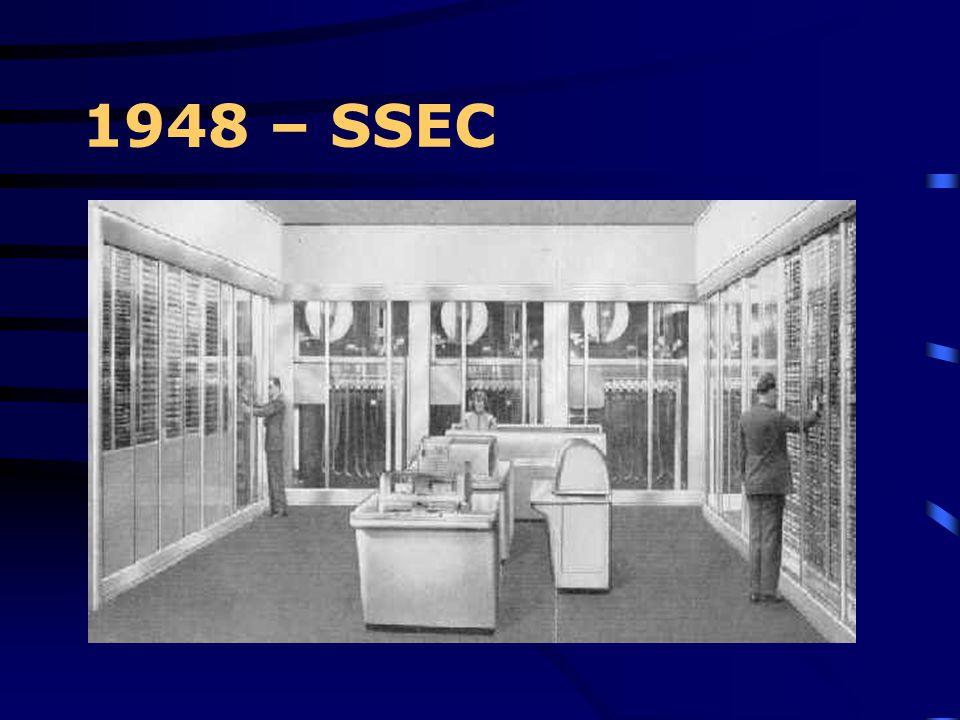 1948 Origini del progetto SSEC Il progetto del SSEC andò avanti giorno e notte, sette giorni alla settimana nel laboratorio IBM di Endicott. Congiunta