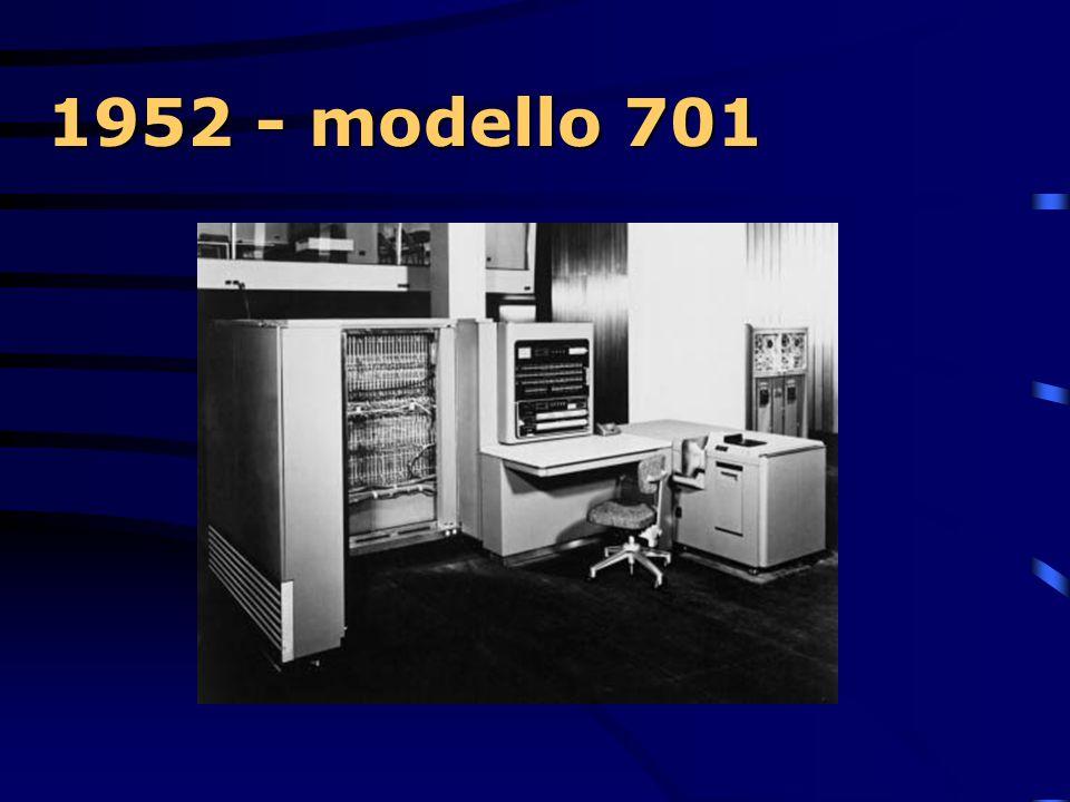 1952 - modello 701  La prima linea di produzione di computer disegnata da Nathaniel Rochester, riguarderà il modello 701 conosciuto anche come