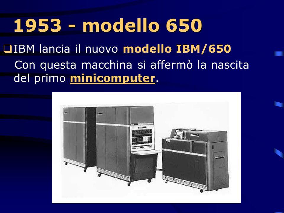 1953… A questo punto però il mercato stava abituandosi ai nuovi calcolatori elettronici e incominciava a chiedere anche macchine meno gigantesche, in