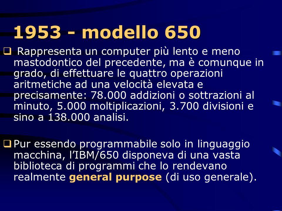 1953 - modello 650  IBM lancia il nuovo modello IBM/650 Con questa macchina si affermò la nascita del primo minicomputer.