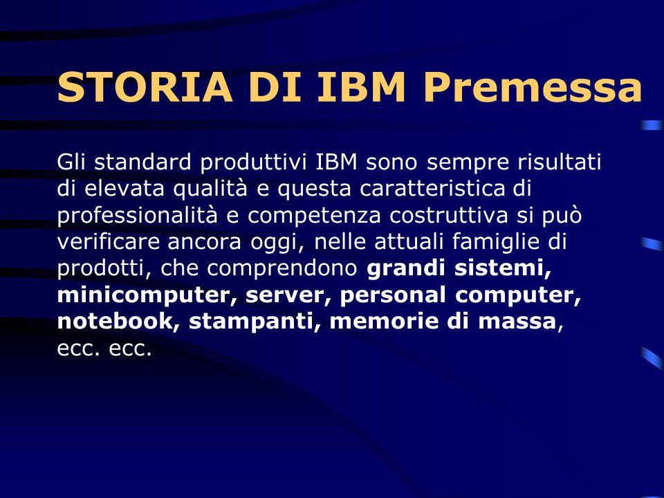 Gli standard produttivi IBM sono sempre risultati di elevata qualità e questa caratteristica di professionalità e competenza costruttiva si può verificare ancora oggi, nelle attuali famiglie di prodotti, che comprendono grandi sistemi, minicomputer, server, personal computer, notebook, stampanti, memorie di massa, ecc.