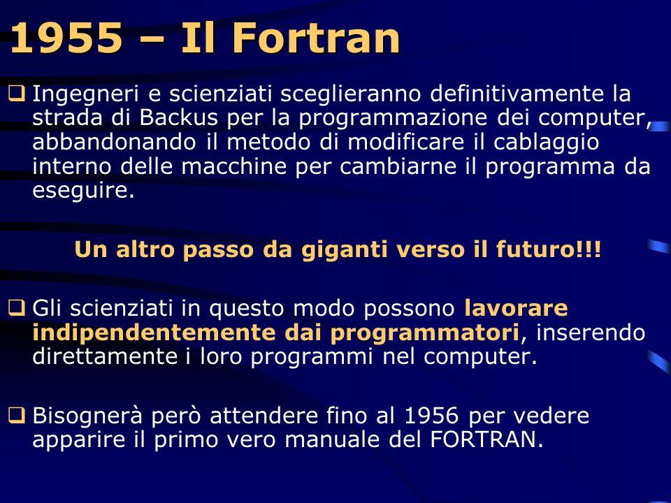 1955 – Il Fortran  Assieme ad altri tecnici IBM, Backus visita i clienti che hanno ordinato il 704 per presentare loro questo nuovo linguaggio e otte