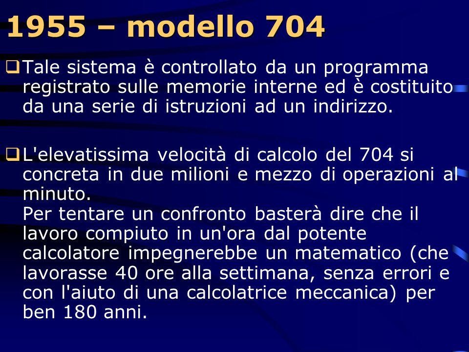 1955 – modello 704  La IBM annuncia il modello IBM/704, un nuovo calcolatore con memoria a nuclei magnetici, con aritmetica floating-point e un sacco