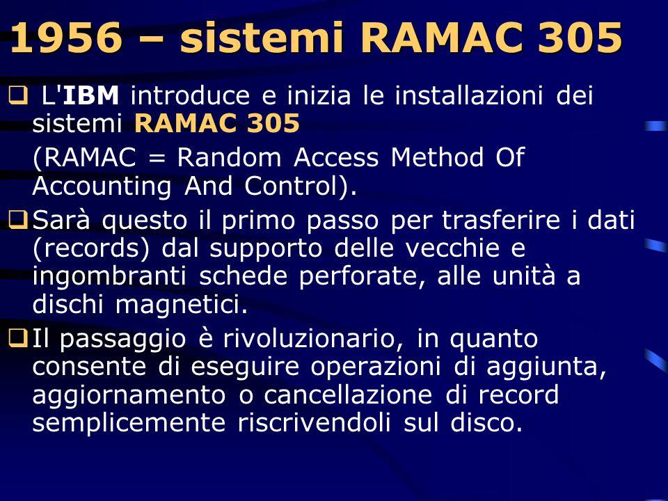 1955 – modello 704  Tale sistema è controllato da un programma registrato sulle memorie interne ed è costituito da una serie di istruzioni ad un indi