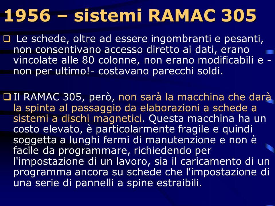 1956 – sistemi RAMAC 305 1956 – sistemi RAMAC 305  L'IBM introduce e inizia le installazioni dei sistemi RAMAC 305 (RAMAC = Random Access Method Of A