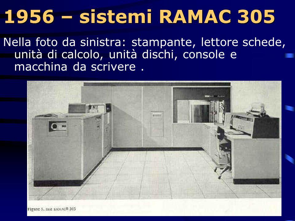 1956 – sistemi RAMAC 305 1956 – sistemi RAMAC 305  Le schede, oltre ad essere ingombranti e pesanti, non consentivano accesso diretto ai dati, erano