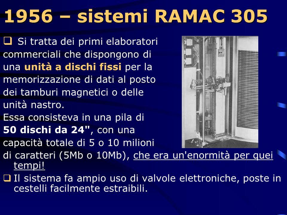 1956 – sistemi RAMAC 305 1956 – sistemi RAMAC 305 Nella foto da sinistra: stampante, lettore schede, unità di calcolo, unità dischi, console e macchin