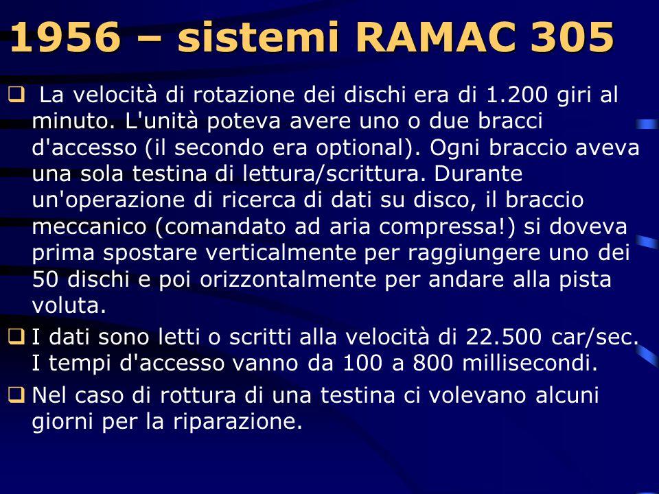 1956 – sistemi RAMAC 305 1956 – sistemi RAMAC 305  Si tratta dei primi elaboratori commerciali che dispongono di una unità a dischi fissi per la memo