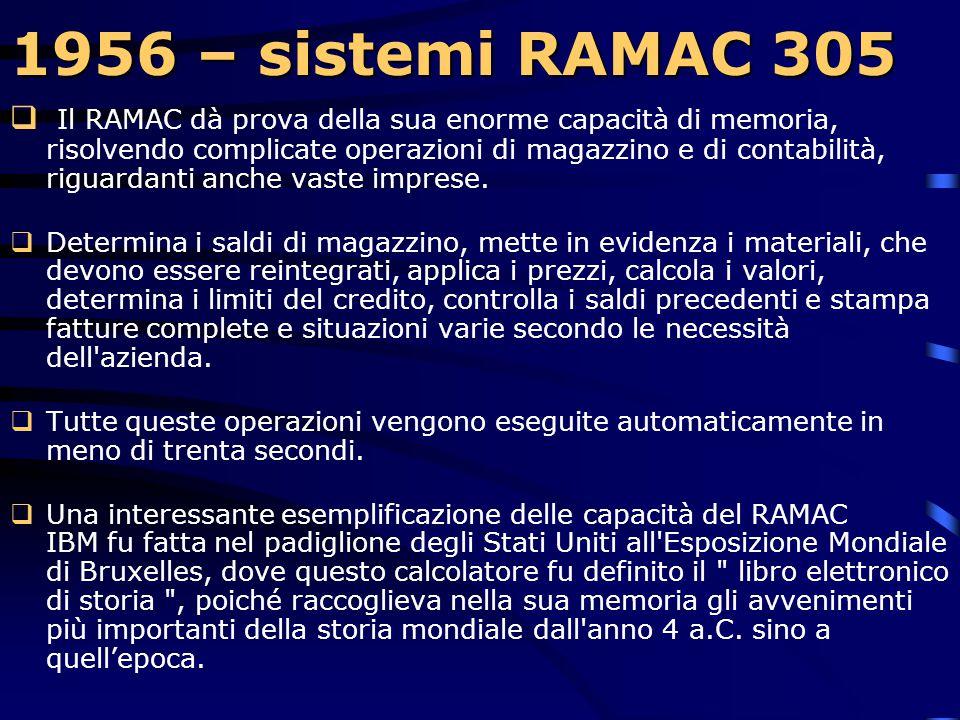 1956 – sistemi RAMAC 305 1956 – sistemi RAMAC 305  La velocità di rotazione dei dischi era di 1.200 giri al minuto. L'unità poteva avere uno o due br