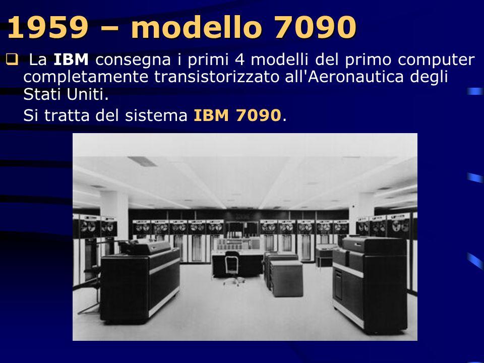 1959 – modello 709  E' la prima macchina che dispone di un data channel per I/O.  L'unità centrale può essere aperta come un libro, facilitando l'ac