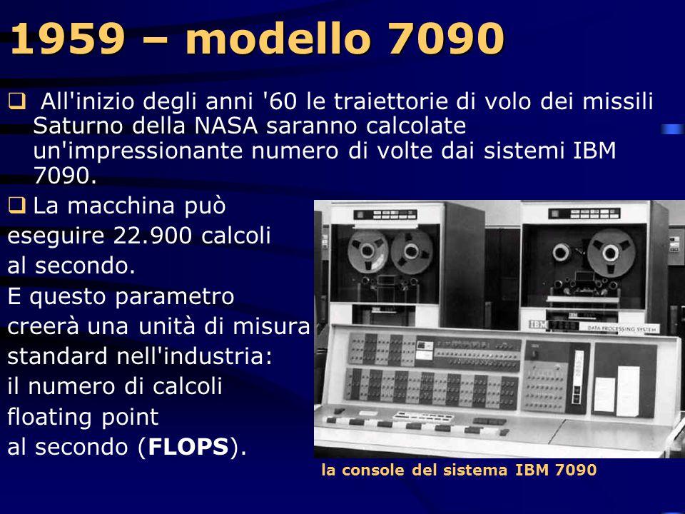 1959 – modello 7090  La IBM consegna i primi 4 modelli del primo computer completamente transistorizzato all'Aeronautica degli Stati Uniti. Si tratta