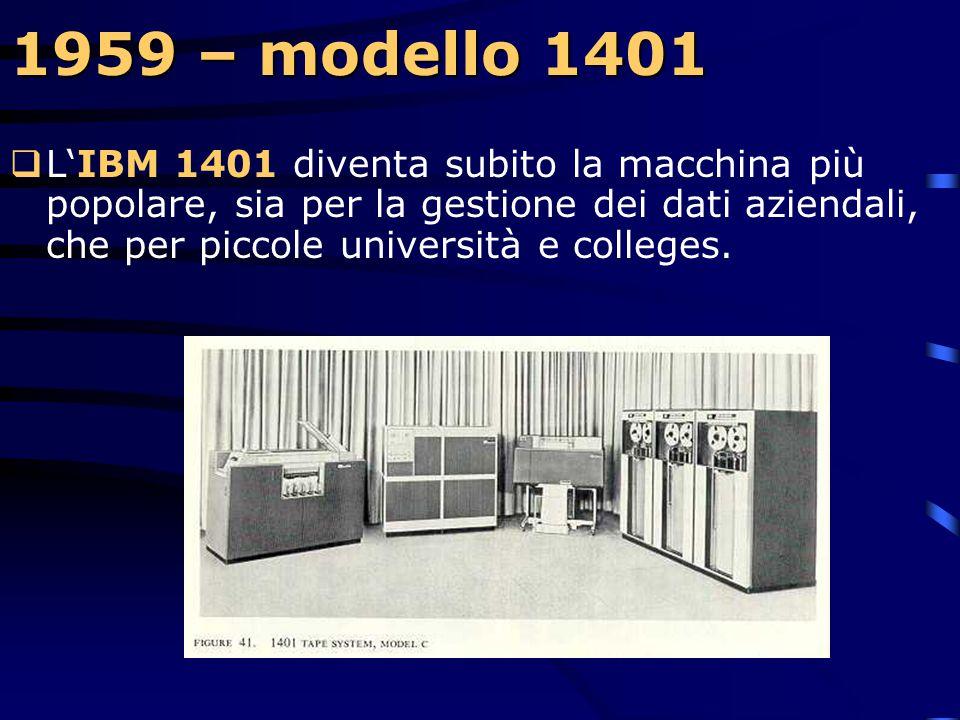 1959 – modelli 1401 e 1620  Mentre molte aziende procedono nello sviluppo di supercomputer, IBM annuncia la disponibilità di due piccole macchine, l'