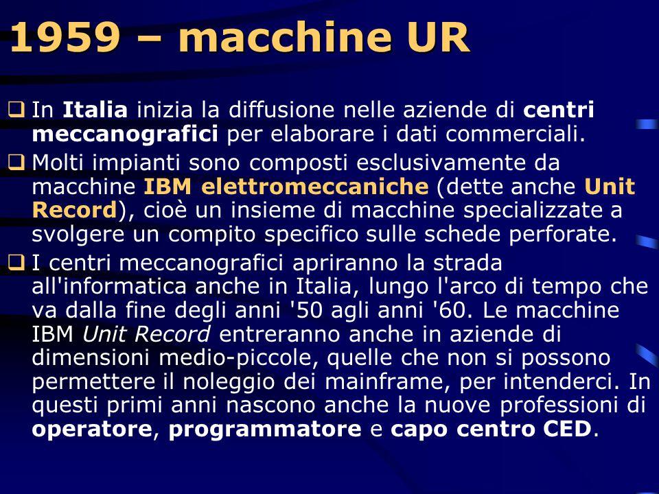 1959 – modello 1620  Il nuovo sistema è composto di un'unità di calcolo, di una unità per la perforazione e la lettura di schede o di nastri magnetic