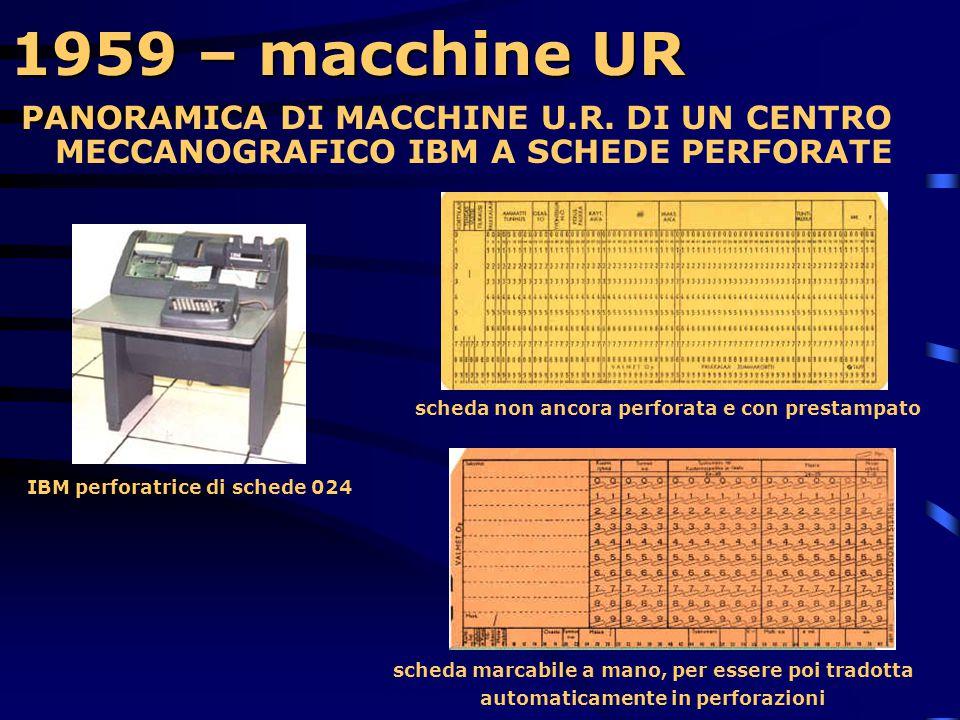 1959 – macchine UR  In Italia inizia la diffusione nelle aziende di centri meccanografici per elaborare i dati commerciali.  Molti impianti sono com