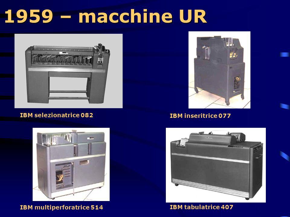 1959 – macchine UR PANORAMICA DI MACCHINE U.R. DI UN CENTRO MECCANOGRAFICO IBM A SCHEDE PERFORATE IBM perforatrice di schede 024 scheda non ancora per