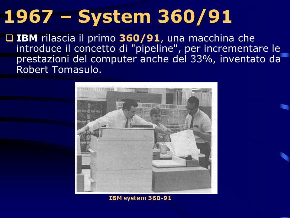 1967 – Floppy Disk  La IBM costruisce il primo Floppy disk che si presentava come dispositivo monofaccia, a sola lettura, con un diametro di 8 pollic