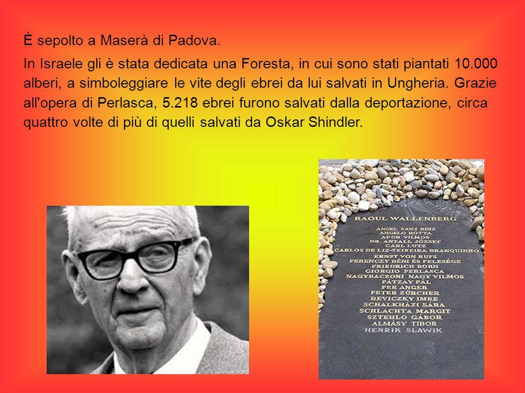 È sepolto a Maserà di Padova. In Israele gli è stata dedicata una Foresta, in cui sono stati piantati 10.000 alberi, a simboleggiare le vite degli ebr