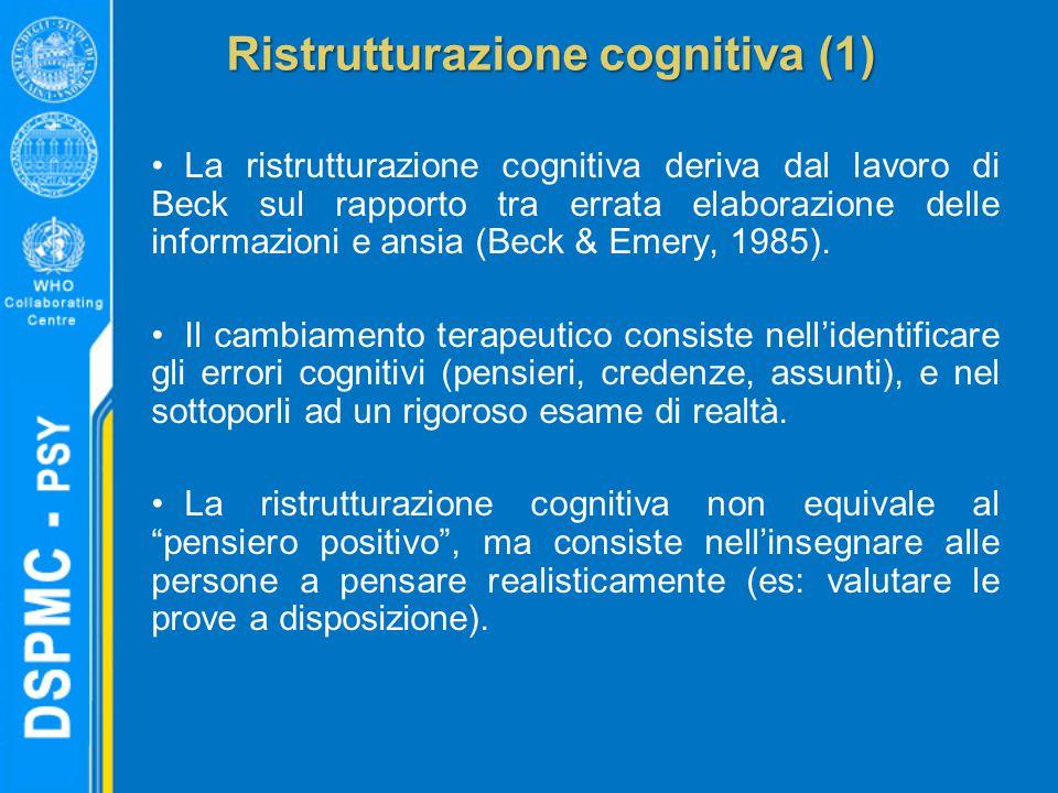 Ristrutturazione cognitiva (1) La ristrutturazione cognitiva deriva dal lavoro di Beck sul rapporto tra errata elaborazione delle informazioni e ansia (Beck & Emery, 1985).