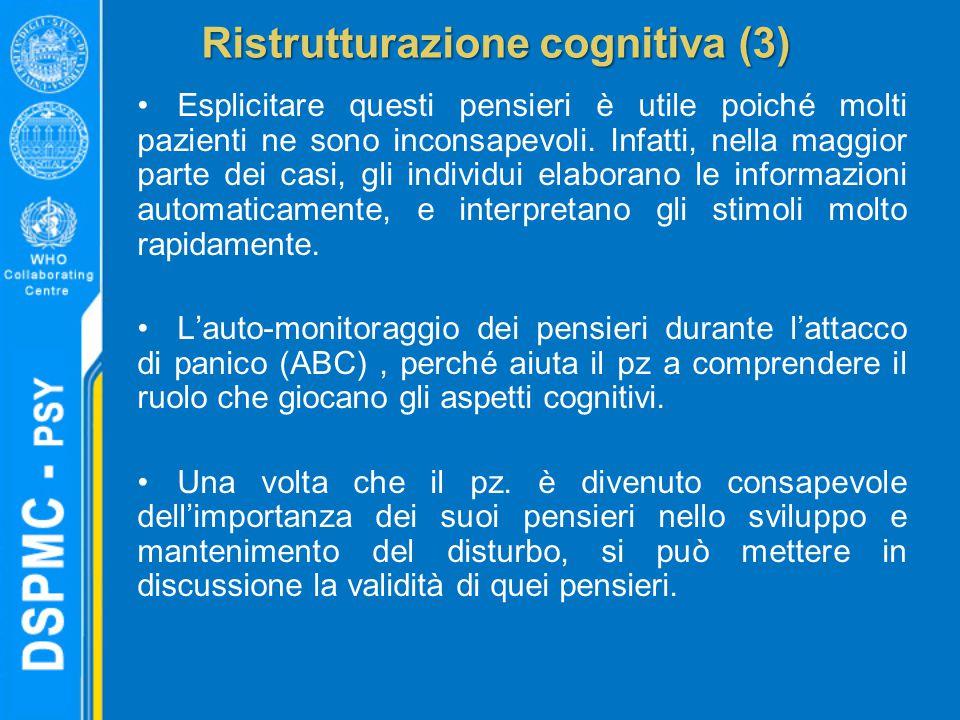 Ristrutturazione cognitiva (3) Esplicitare questi pensieri è utile poiché molti pazienti ne sono inconsapevoli. Infatti, nella maggior parte dei casi,