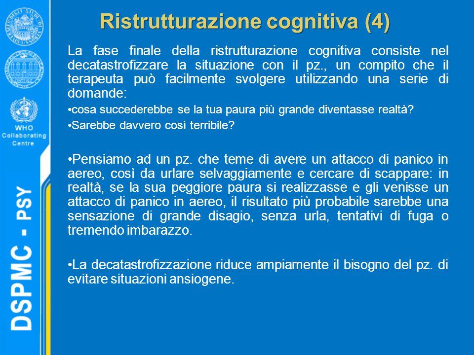 Ristrutturazione cognitiva (4) La fase finale della ristrutturazione cognitiva consiste nel decatastrofizzare la situazione con il pz., un compito che il terapeuta può facilmente svolgere utilizzando una serie di domande: cosa succederebbe se la tua paura più grande diventasse realtà.