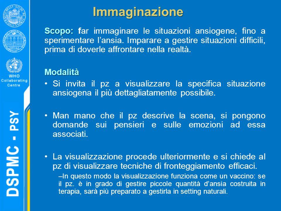 Immaginazione Scopo: Scopo: far immaginare le situazioni ansiogene, fino a sperimentare l'ansia. Imparare a gestire situazioni difficili, prima di dov