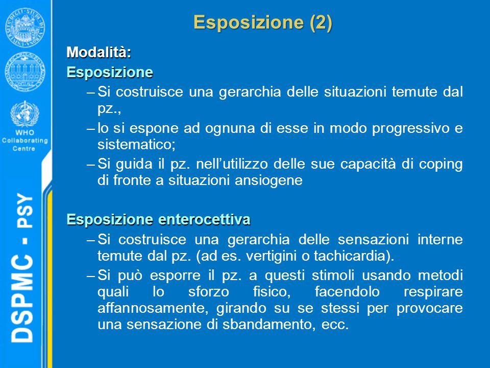 Esposizione (2) Modalità:Esposizione –Si costruisce una gerarchia delle situazioni temute dal pz., –lo si espone ad ognuna di esse in modo progressivo e sistematico; –Si guida il pz.