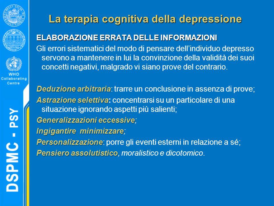 La terapia cognitiva della depressione ELABORAZIONE ERRATA DELLE INFORMAZIONI Gli errori sistematici del modo di pensare dell'individuo depresso servono a mantenere in lui la convinzione della validità dei suoi concetti negativi, malgrado vi siano prove del contrario.