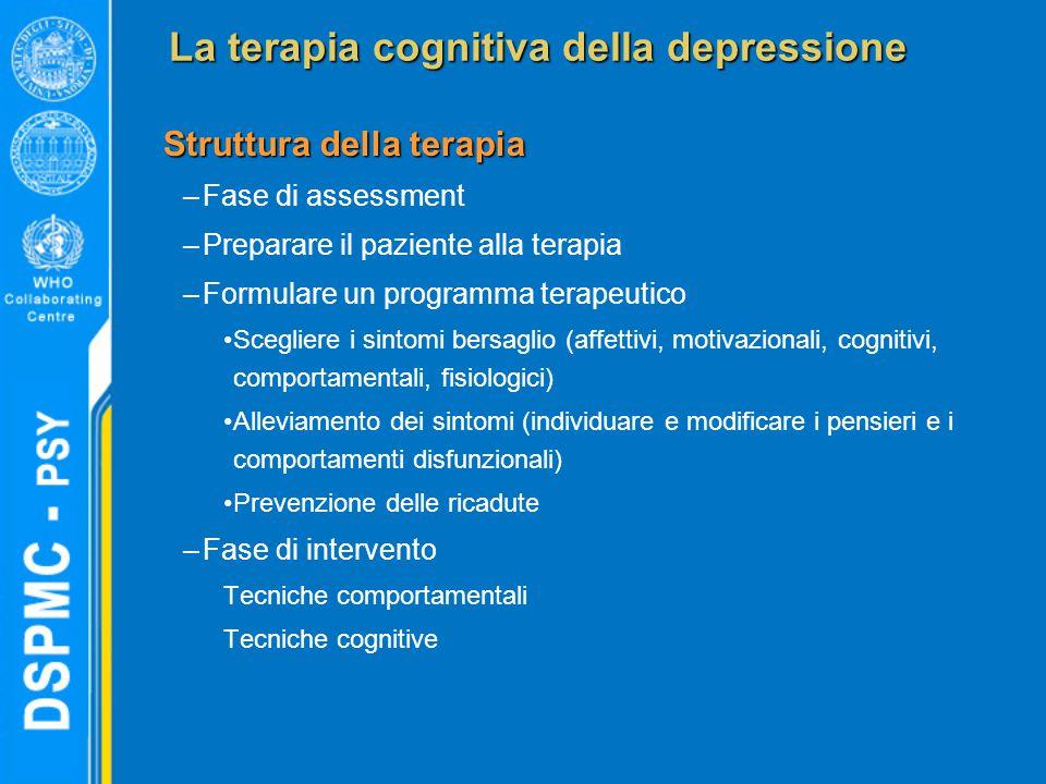 La terapia cognitiva della depressione Struttura della terapia –Fase di assessment –Preparare il paziente alla terapia –Formulare un programma terapeu