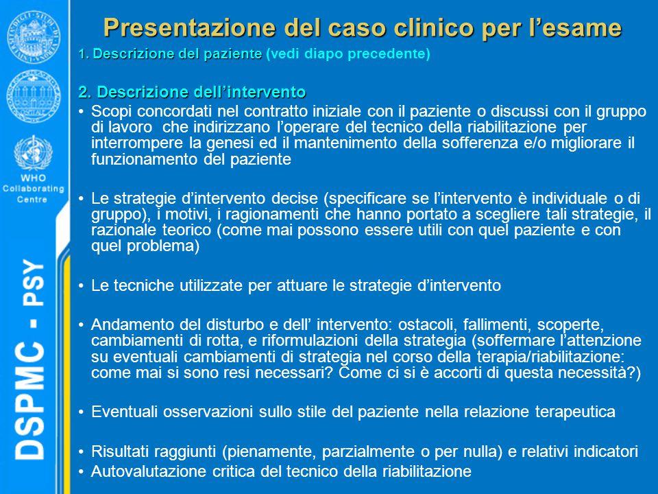 Presentazione del caso clinico per l'esame 1. Descrizione del paziente 1. Descrizione del paziente (vedi diapo precedente) 2. Descrizione dell'interve