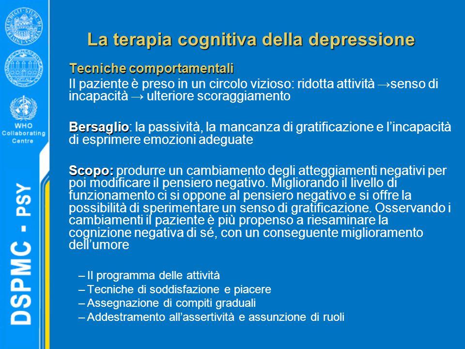 La terapia cognitiva della depressione Tecniche comportamentali Il paziente è preso in un circolo vizioso: ridotta attività →senso di incapacità → ult