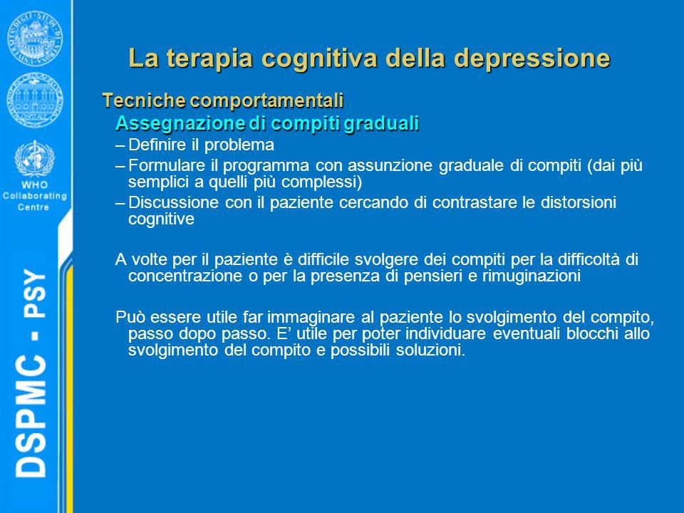 La terapia cognitiva della depressione Tecniche comportamentali Assegnazione di compiti graduali –Definire il problema –Formulare il programma con ass