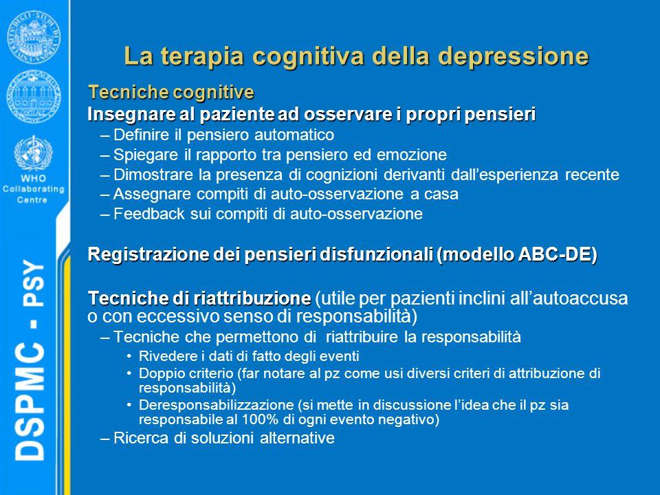 La terapia cognitiva della depressione Tecniche cognitive Insegnare al paziente ad osservare i propri pensieri –Definire il pensiero automatico –Spieg