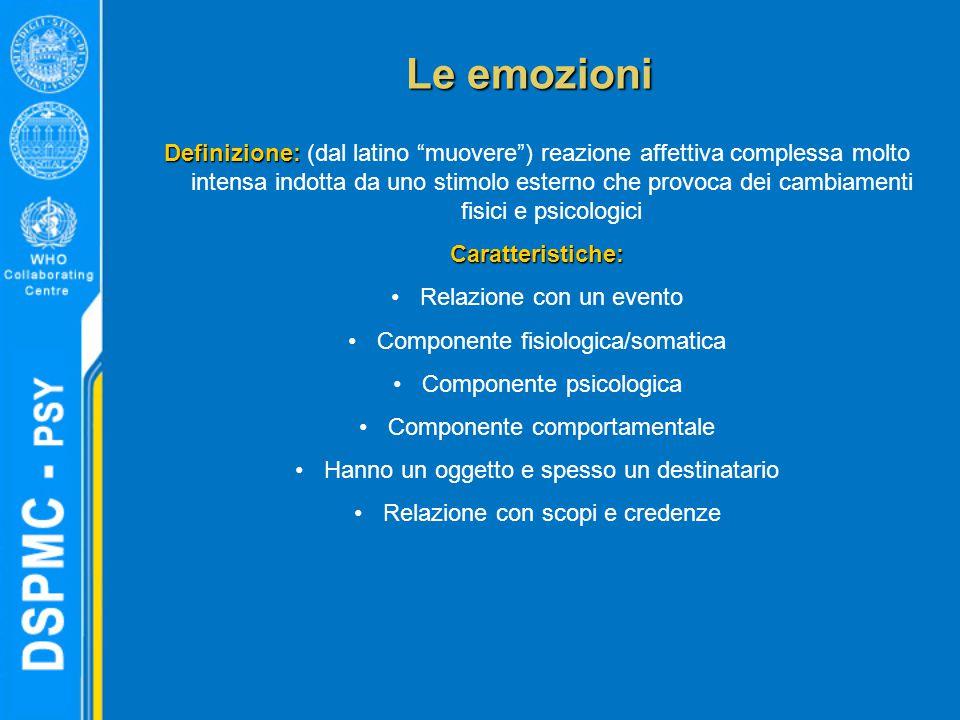 """Le emozioni Definizione: Definizione: (dal latino """"muovere"""") reazione affettiva complessa molto intensa indotta da uno stimolo esterno che provoca dei"""
